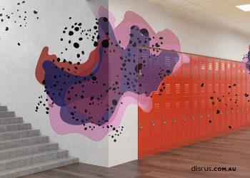 DDS126_Holopensene_Mulberry_2 wall graphic and vinyl to lockers