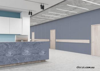 Wooden reception desk with computer standing in stylish hospital hall with white and blue walls and row of closed doors. Concept of healthcare and medicine. 3d rendering