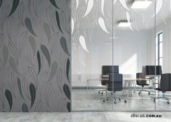 Gum Leaf in Slate applied as a wall graphic and extended across window film.