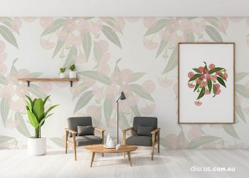 Gum Blossom in colourway Shadow applied as a wall graphic  and colourway Clay as canvas print.
